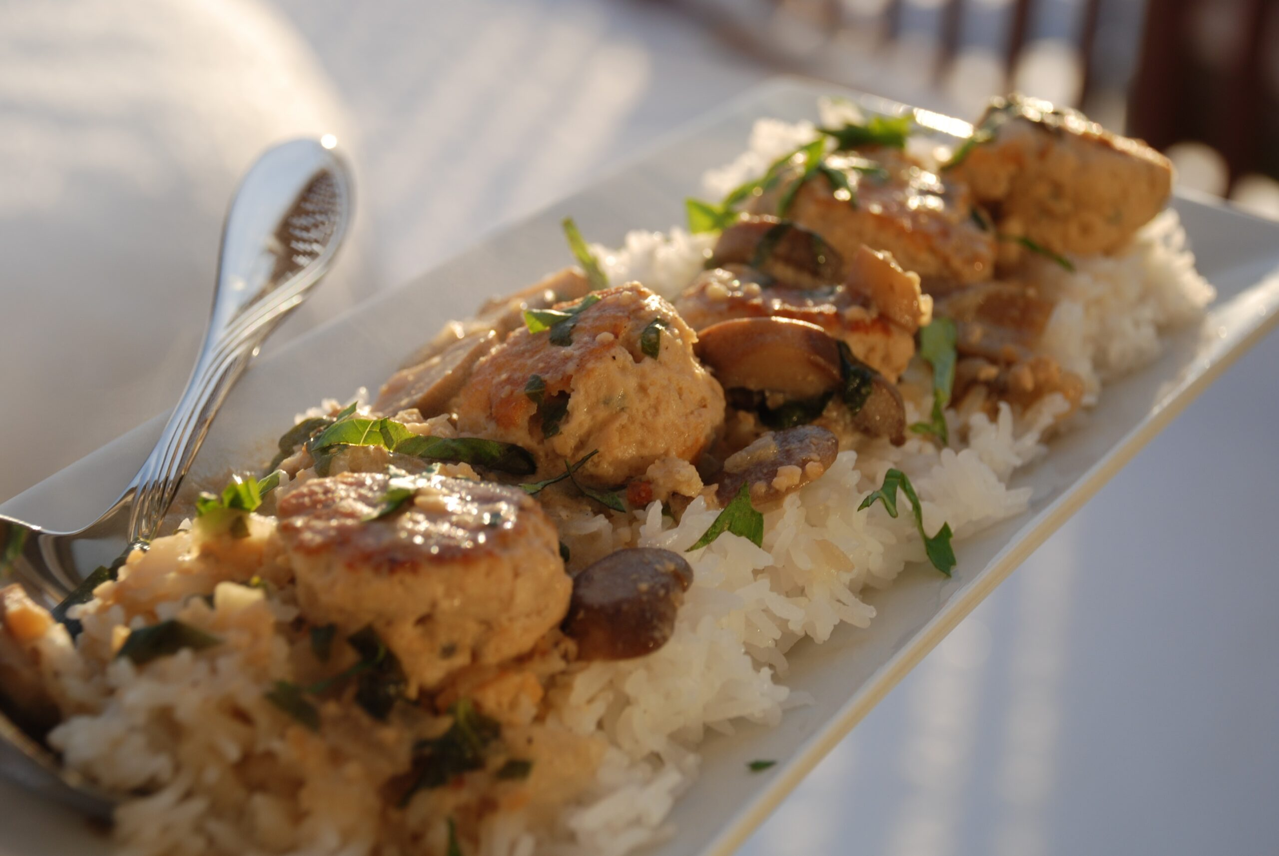 Chicken Meatballs with Mushroom and Basil Sauce