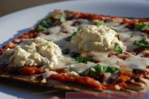Ricotta on Matzah Pizza