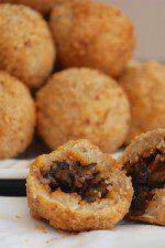 Mushroom-Stuffed Matzah Ball Fritters