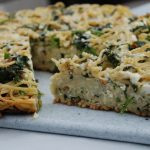 Pasta Frittata with Broccoli Rabe, Basil, and Pine Nuts