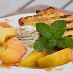 Spiked Peaches with Grilled Pound Cake